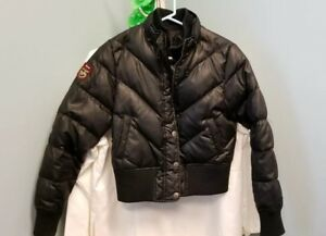 Triple-Fat-Goose-Women-XL-Jacket-Coat-Puffer-Down-Bomber-Winter-Black-F-A-T