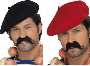Details about BLACK OR RED FRENCH BERET MIME ARTIST HAT Fancy Dress Costume  Accessories 2e0a1bb3764
