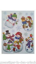 Weihnachts Fensterbilder für Fenster & Spiegelflächen Schneemänner Fensterdeko