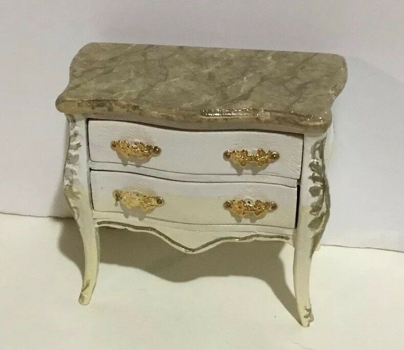 Dollhouse Miniatures Artisan OOAK Handpainted And Marbelized 2-Drawer Chest