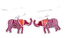 argento stile vintage e rossi orecchini dell'elefante ciondola