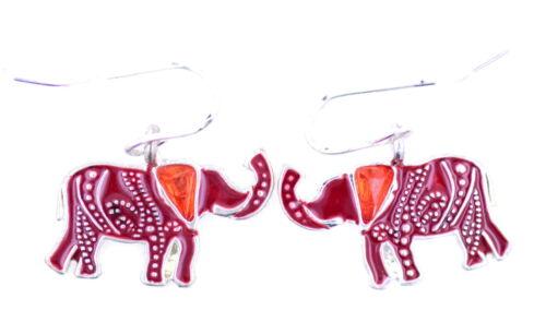 Vintage style argent et éléphant rouge pendent boucles d/'oreilles