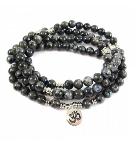 Mala 108 perles en Labradorite grise naturelle symbole Ôm