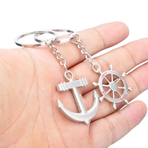 Classic Navy Wind Rudder Anchor Couple Lover Key Chain Creative Hot Gifts A pair