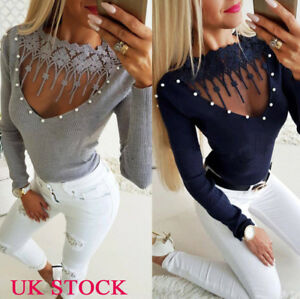 Womens-Beads-V-Neck-Long-Sleeve-Tops-Ladies-Slim-Winter-T-Shirts-Blouses