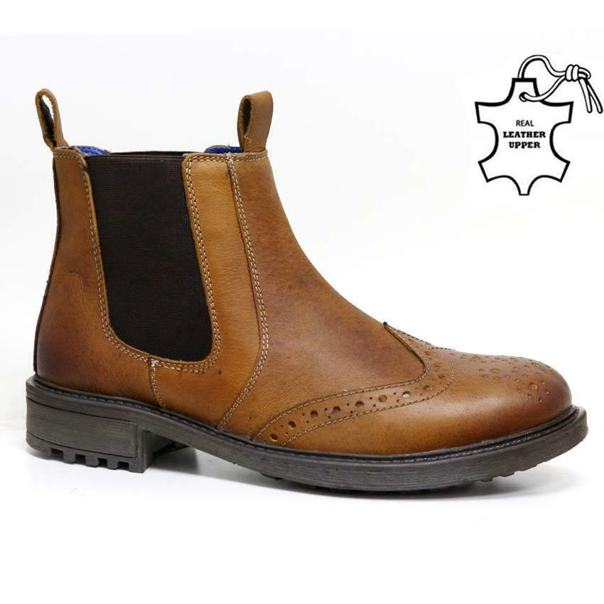 c25e081b2ce Mens Catesby Leather Chelsea Boots Dealer Work Ankle Biker Formal Brogue  shoes