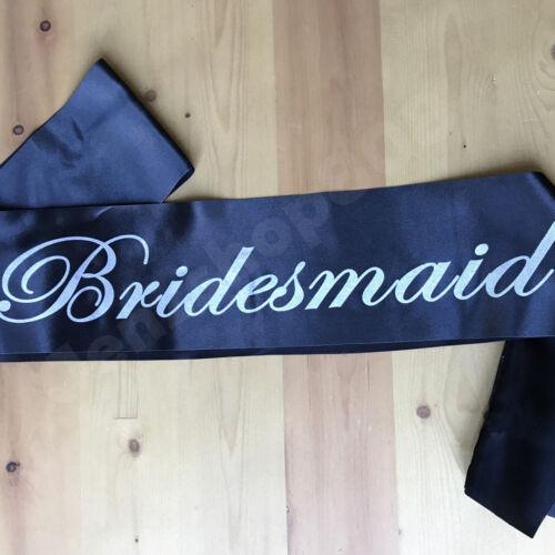 Bride Sash Black Silk Fabric with Silver Metallic Font Hen Do Bachelorette Party