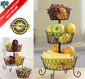 Image Is Loading 3 Tier Fruit Basket Bowl Holder Stand Kitchen