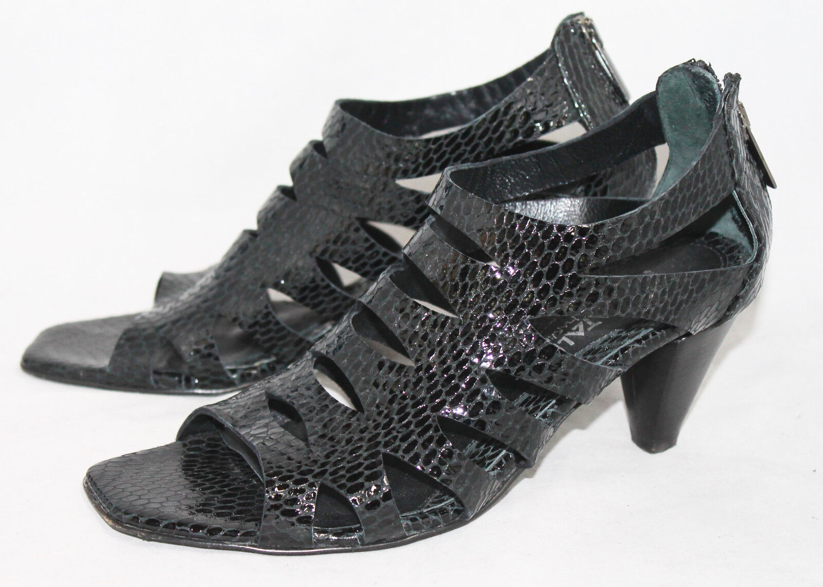AQUATALIA Wo's 7 Black Patent Snake Embossed Cage Sandal Medium Heel Open Toe