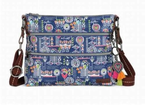 NWT Sakroots Basic Crossbody Shoulder Bag Indigo Dream Song New SHIP INTL