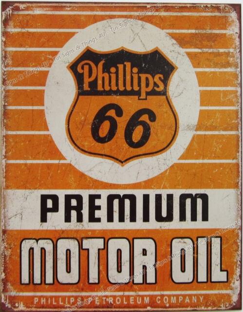 Phillips 66 Premium Motor Oil TIN SIGN metal vtg ad gas garage wall decor 1996