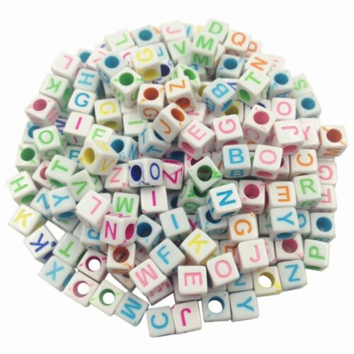 100Pcs Mixed Alphabet//Letter Round Acrylic Spacer Loose Beads Jewelry Making DIY