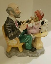 Grandpa & Red Hair Girl, Cucci Figurine Mark : Stylized N Under Radiating Crown