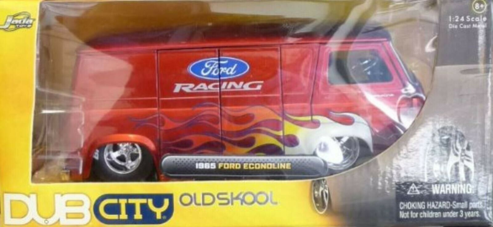 WOW EXTREMELY RARE Ford Econoline Van 'Ford Racing' Flames Flames Flames 1965 Red m 1 24 Jada 465555