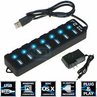 7 Port USB 2.0 HUB ON/OFF Switch High Speed +AC Power Adapter For PC Laptop Mac