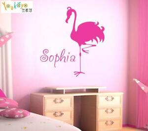 Personalized-Name-Wall-Sticker-Flamingo-Wall-Decal-Kids-Room-Bedroom-Home-Decor