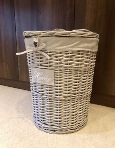 New-Grey-Storage-Lidded-Wicker-Hand-Woven-Laundry-Storage-Basket-Strong-Durable