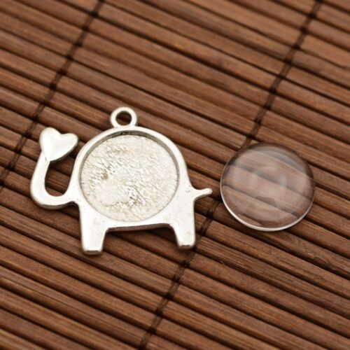 10 x Zinc Alloy Elephant Pendant Transparent Flat Round Glass Cabochon Settings