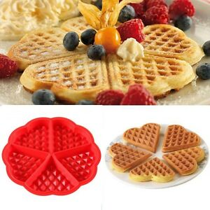 Kitchen Silicone Mini Round Waffles Pan Cake Baking Mould Mold Waffle Tray Red