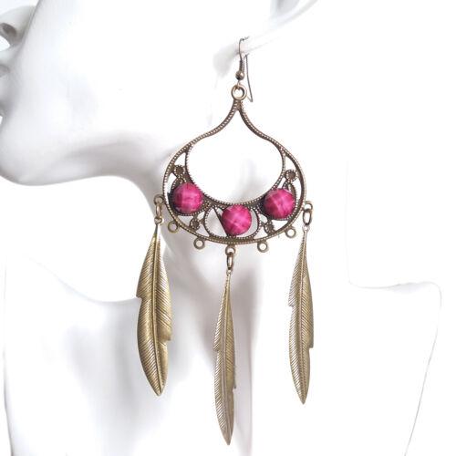 Womens Bohemian Boho Vintage Pink Gems Metal Feather Chandelier Dangle Earrings