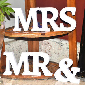 Mrmrs sign letters white wooden standing top home au wedding table image is loading mr amp mrs sign letters white wooden standing junglespirit Images