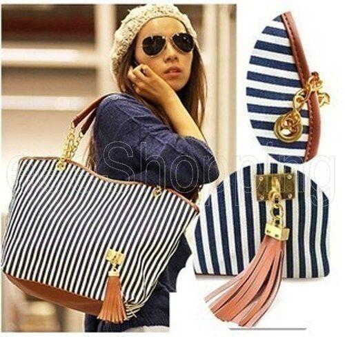 New Korean Style Ladies Tassel Canvas Shoulder Bags Tote Handbag Hobo Satchel