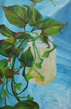 Matted FINE ART PRINT of OIL PAINTING 5x7 Blue Green Vine Botanical Plant SIGNED