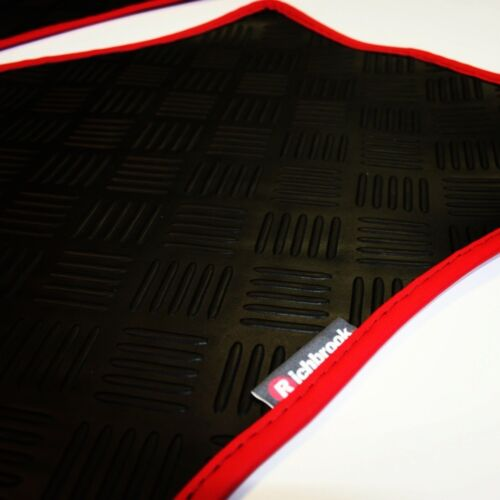 Richbrook 3 mm de goma negra de automóvil Mats-Rojo Ribete En Piel Fiat Punto EVO 10-now