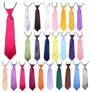 Satin-Elastique-Cravate-Pour-Garcons-enfants-Kids-School-Uniform-Mariage-Bal-Page