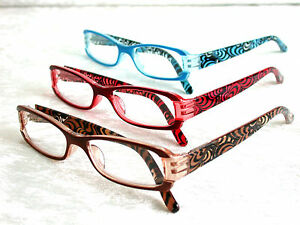 Moderner-Farb-Style-Braun-Rot-Blau-Kunststoff-Farbe-NEU-Damen-Lesebrille-6071
