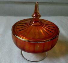 Marigold Carnival Glass Candy Dish Bowl Lid Pedestal Amber Orange Gold VTG 1950s