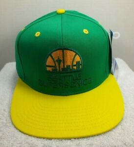 Seattle-Supersonics-NBA-Snapback-Hat-Cap-2-Tone-Green-Yellow-One-Size-NEW