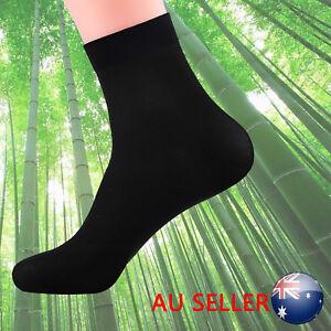 10X Pairs Men Mens Socks Black Bamboo Fibre Odor Resistant Healthy Natural 714367569666