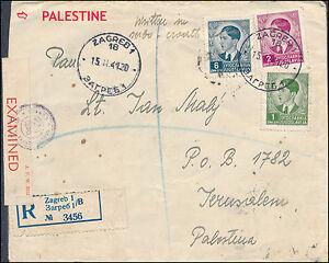 1941-Zagreb-Yugoslavia-Censored-Registered-Cover-to-Jerusalem-Palestine