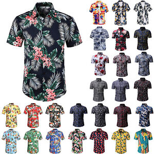 Mens-Short-Sleeve-Blouse-Hawaiian-Shirts-Summer-Beach-Holiday-Casual-T-Shirt-Top