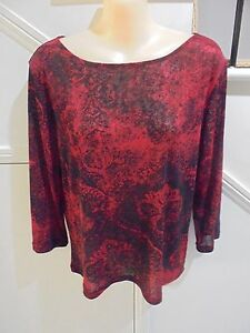 JACQUI-E-SIZE-16-GOPRGEOUS-RED-BLACK-LIGHTWEIGHT-TOP-039-PERFECT-039