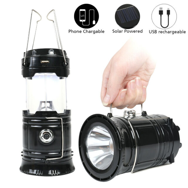 6 LED Portable USB Solar Light Rechargeable Lantern Camping Hiking Bright Lamp