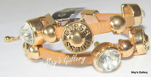 GUESS-Jeans-Rhinestones-faux-leather-Bangle-Bracelet-Gold-Tone-Charms-NWT