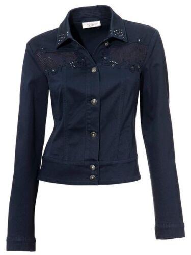 38 40 dunkelblau Jeansjacke mit Spitze Jacke NEU Linea Tesini Kurzjacke Gr