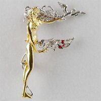 Erte Letter f Sterling & Gold Alphabet Series Pendant/pin Erf14dss