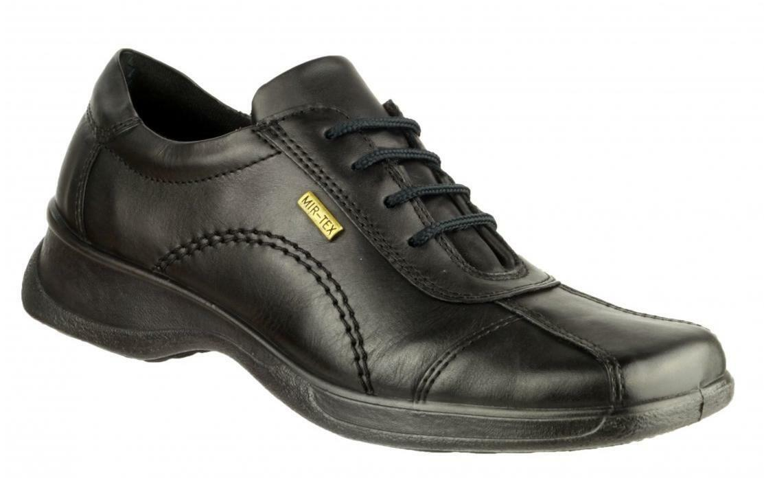 Cotswold ICOMB Womens Ladies Leather Waterproof Square Flat Office shoes Black