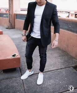Mens Stylish Slim Fit Jacket Groomsman Outfit Prom Dinner Party Wear