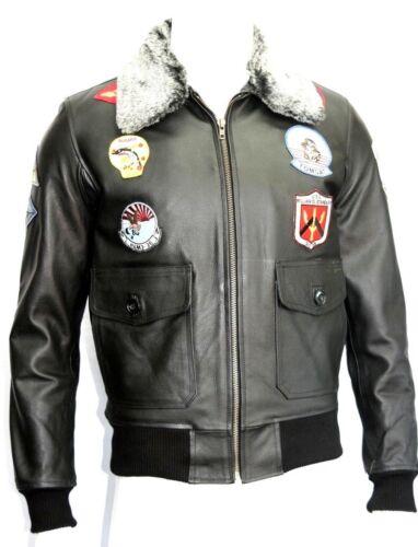 Mens Force Hide Jacket Gun Top Movie Black Fur Air Style Leather Badges Collar wqrfwA