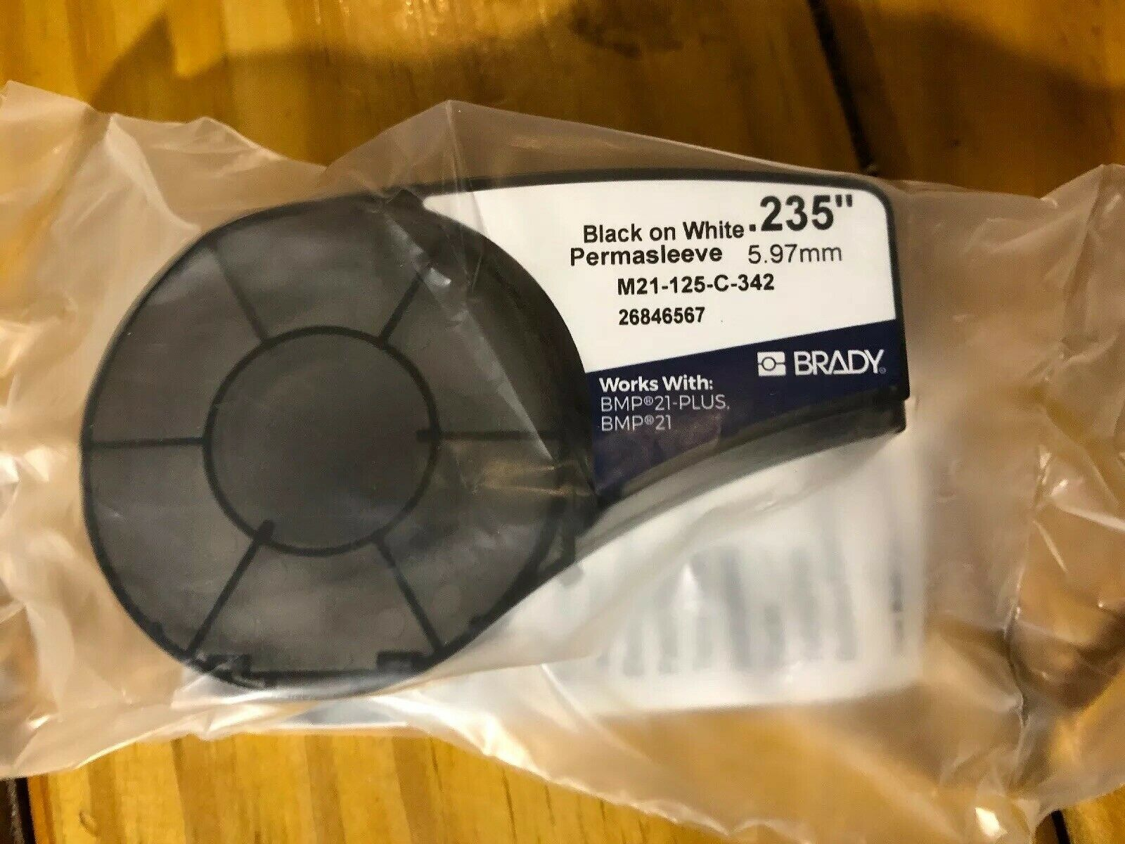 BRADY M21-125-C-342 Label Cartridge,Black//White,1//8 In W