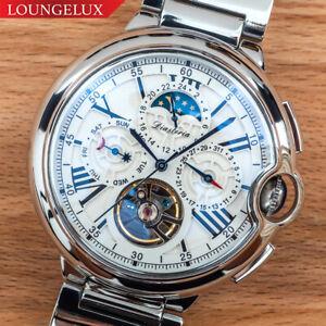 NEW-Mens-Flywheel-Luxury-Open-Heart-Skeleton-Automatic-Mechanical-Metal-Watch