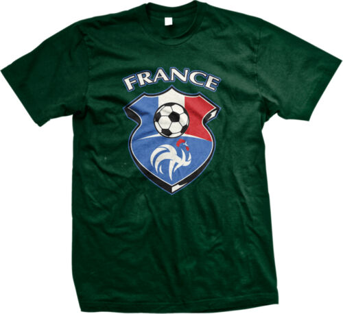 France Badge Crest French Flag Colors Soccer Team FRA FR Ball Am Men/'s T-Shirt