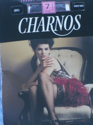 1980 S Charnos Hold Ups Stockings Vintage Retro Luxury Lace Navy Sz S UK 34 afficher le titre d'origine