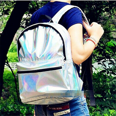 New Charming Women Fashion Hologram Holographic Leather School Backpack Tote Bag