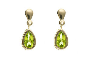Peridot-Earrings-Yellow-Gold-Solid-9-Carat-Drop-Smooth-Set-Natural-Stone-Drops