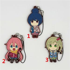 Anime Yuru Camp rubber Keychain Key Ring Straps Rare cosplay